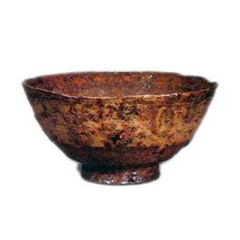 秋の山 伊羅保茶碗
