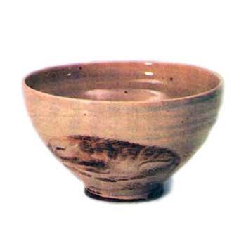 朝日焼 猪絵茶碗